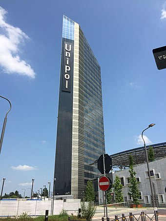 Unipol Tower, at 127 m, is the city's tallest building. Unipol Tower 02.JPG