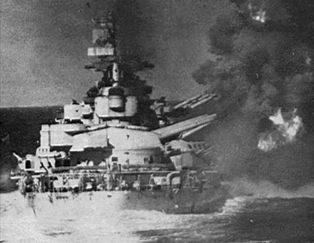The battleship Vittorio Veneto firing upon the Allied cruisers during the action off Gavdos Veneto guns at Gaudos.jpg