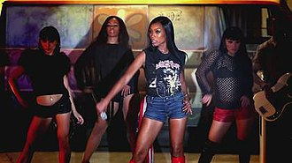 "Wildest Dreams (Brandy song) - Norwood along with her background dancers in a sequence from the ""Wildest Dreams"" video."