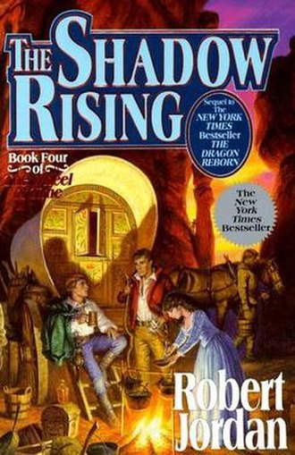 The Shadow Rising - Original cover of The Shadow Rising, featuring Rand, Mat, and Egwene in the Aiel Waste
