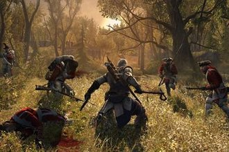 Assassin's Creed III - Assassin's Creed III features new gameplay elements such as hunting and dual wielding of weaponry. Here the protagonist Connor uses two weapons, a tomahawk and a flintlock pistol, against a group of redcoats.