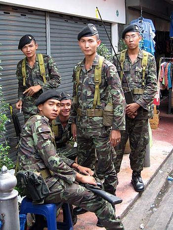 Soldiers of the Royal Thai Army in the streets...