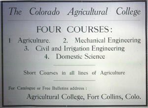 Colorado State University - Colorado Agricultural College advertisement