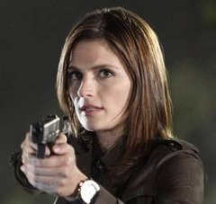 "Image of actress Stana Katic as Detective Kate Beckett in the season 3 episode titled ""Under the Gun"""