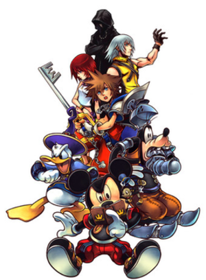 Kingdom Hearts Coded - Artwork of the cast of Kingdom Hearts coded. (From left to right) (Bottom Row) Donald Duck, King Mickey, Jiminy Cricket, Goofy (Middle Row) Kairi, Sora, Riku (Top Row) An Organization XIII Member (Roxas)