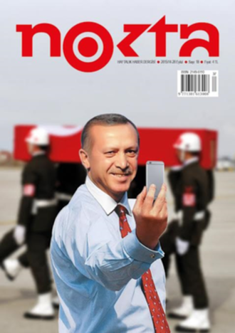 "Nokta - The satirical cover of a September 2015 edition of weekly Nokta Magazine criticised Erdogan for inciting and exploiting the conflict and its casualties for personal political PR purposes. Erdogan had the edition banned and the entire circulation confiscated for allegedly ""insulting"" him."