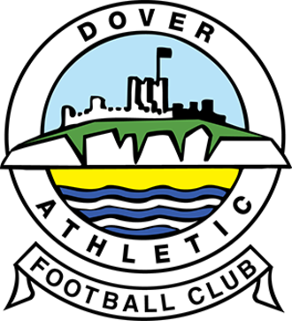 "Dover Athletic F.C. - A simplified illustration of a castle atop white cliffs, with the sea below, all surrounded in a circular border containing the words ""Dover Athletic"", with a scroll below containing the words ""Football Club"""