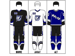 Tampa Bay Lightning - The Lightning's former sweaters. The alternate was kept after the 2010–11 season.