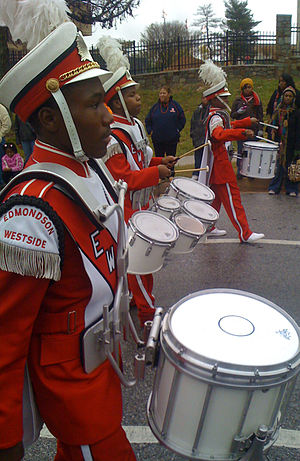 Edmondson-Westside High School - Edmondson-Westside drumline at the 2008 Morgan State University homecoming parade