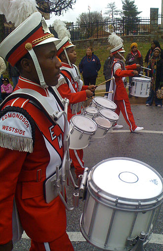 Edmondson-Westside High School - Edmondson-Westside drumline at the 2008 Morgan State University homecoming parade
