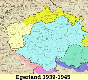 Egerland - Regierunsgbezirk Eger in cream colour with the remainder of Sudetenland in yellow
