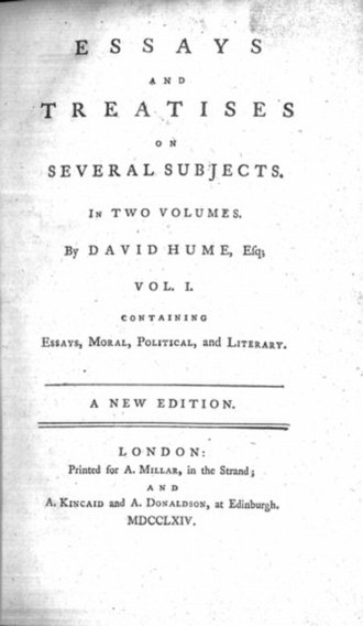 Of the Balance of Trade - Image: Essays and treatises david hume