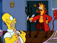 """Flanders as the devil in """"Treehouse of Horror IV"""", portrayed as such due to being """"the one you least suspect""""."""