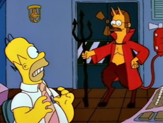 """Ned Flanders - Flanders as the devil in """"Treehouse of Horror IV"""", portrayed as such due to being """"the one you least suspect"""""""