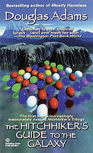 Phrases from The Hitchhiker's Guide to the Galaxy - The 42 puzzle. The shape of the islands in the background spells out 42, and there are 42 coloured balls