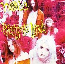 "A bright pink, heavily saturated photo of the four people. Stylized yellow lettering reads ""Hole Pretty on the Inside""."