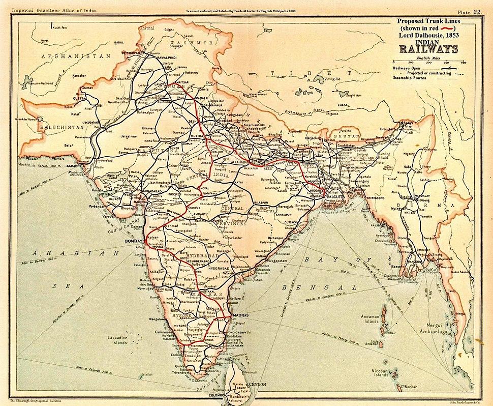 India railways trunklines 1853