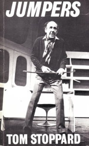 Jumpers (play) - Michael Hordern as philosopher George Moore, from the playtext cover. Moore is about to loose the arrow and disprove Zeno's arrow paradox