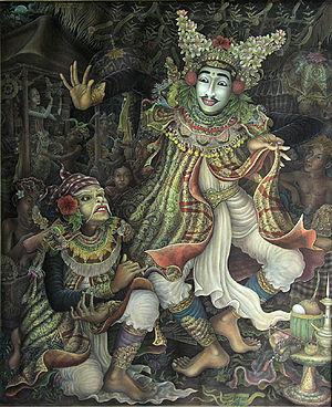 Balinese art - Mask Dancer, A.A. Gde Anom Sukawati (b. 1966), Acrylic on canvas