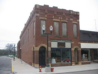 Fonda, Iowa - The old hardware store, partially restored and housing McMullen Company, an antique store.