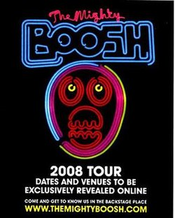 Poster used in magazines and venues around the UK to promote the Boosh's nationwide 2008 tour.