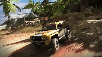 MotorStorm: Pacific Rift - Screenshot from Motorstorm: Pacific Rift showing a Mudplugger