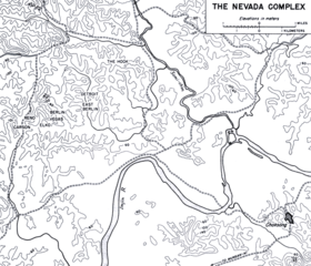 A black and white map depicting UN outposts which are located in a line centrally on the left of the map, including Carson, Reno, Elko, Vegas, Berlin, East Berlin and Detroit and The Hook, which is depicted to their right in the middle of the map. Numerous contour lines detail the terrain of the area, while roads are depicted running both horizontally and vertically. To the south, the Imjin River runs from east to west, turning south, before hooking north and then again to the south, while the Samichon River runs from the north to the west on the right of the map before meeting the Imjin River at their confluence. To the bottom right is the town of Choksong, which is depicted to the south of the river.