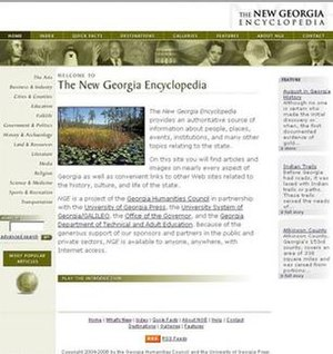 New Georgia Encyclopedia - The New Georgia Encyclopedia in 2006, before the redesign.