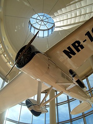Oklahoma History Center - A replica of Oklahoma aviator Wiley Post's Winnie Mae hangs in the atrium of the Oklahoma History Center.