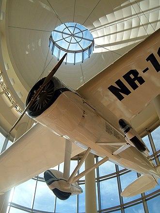 Oklahoma History Center - A replica of Oklahoma aviator Wiley Post's Winnie Mae hangs in the atrium of the Oklahoma History Center.