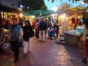 Olvera Street - Olvera Street Market; the zigzag brick pattern represents the original path of the Zanja Madre