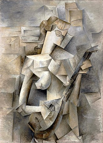 Cubism - Pablo Picasso, 1910, Girl with a Mandolin (Fanny Tellier), oil on canvas, 100.3 x 73.6 cm, Museum of Modern Art, New York