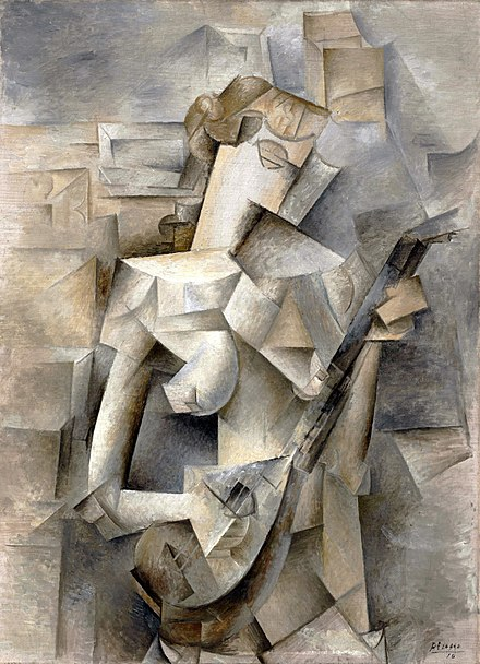 Picasso, Girl with a Mandolin (Fanny Tellier) (1910), oil on canvas, 100.3 x 73.6 cm, Museum of Modern Art, New York Pablo Picasso, 1910, Girl with a Mandolin (Fanny Tellier), oil on canvas, 100.3 x 73.6 cm, Museum of Modern Art New York..jpg
