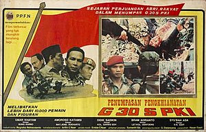 "Lobby card, showing five main characters and the text ""Penumpasan Pengkhianatan G 30 S PKI"" as well as a scene from the film"