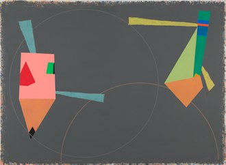 "Peter Plagens - Peter Plagens, Wheels of Wonder, acrylic on canvas, 66"" x 96"", 1985"
