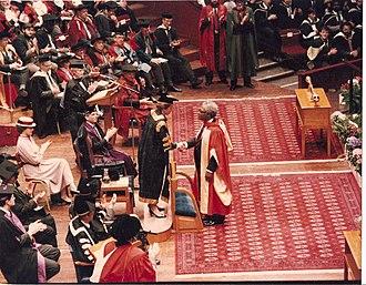 Kelsey Harrison - HRH Princess Anne presenting the DSc Degree to Professor Harrison, 1989