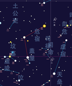 Roof (Chinese constellation) - A starmap of the Roof