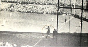 Babe Ruth's called shot - A still of Ruth pointing during the at-bat. Root's back is turned to Ruth at that moment.
