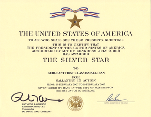 Silver Star Award for SFC Iban, C Company, 52d...
