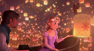 "I See the Light - Screenshot from Tangled depicting Rapunzel and Flynn Rider during the ""I See the Light"" lantern sequence."