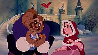 """Something There - Screenshot of the Beast and Belle finally realizing that they are beginning to fall in love with each other during the """"Something There"""" musical sequence."""