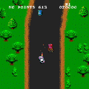 Spy Hunter - The player has shot an innocent civilian car and is penalized with no points for a short duration.