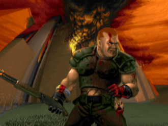 Doom (1993 video game) - The unnamed protagonist of the Doom series as he appears in The Ultimate Doom.