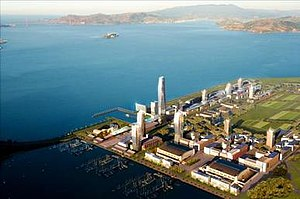 Treasure Island Development - Artist's impression of an aerial view of the new Treasure Island development