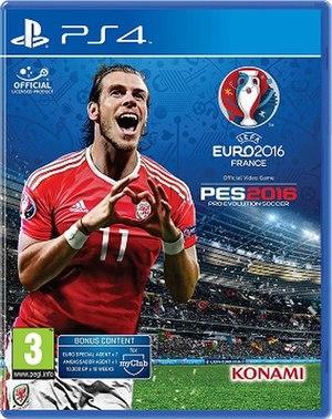 Pro Evolution Soccer 2016 - British PlayStation 4 UEFA Euro 2016 edition cover featuring Gareth Bale