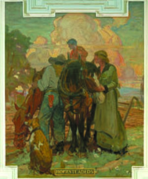 Allen Tupper True - Homesteaders, one of 8 murals painted in 1917 for the Wyoming State Capitol