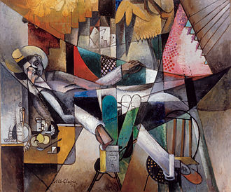 Albright–Knox Art Gallery - Albert Gleizes, L'Homme au Hamac (Man in a Hammock), 1913, oil on canvas, 130 x 155.5 cm