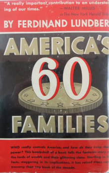 Cover of the 1946 printing of America's 60 Families