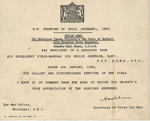 Appreciation letter by King George V.