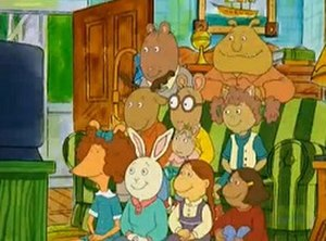 Arthur (TV series) - (Clockwise from upper left): The Brain, Binky, Sue Ellen, Francine, Muffy, Buster, Prunella, George, Arthur, Baby Kate
